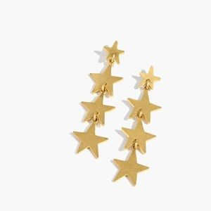 Madewell Vintage Gold Star Drop Earrings NWT